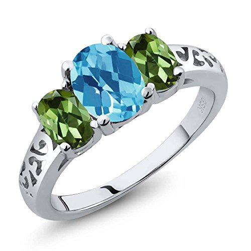 2.30 Ct Oval Checkerboard Swiss Blue Topaz Green Tourmaline 925 Silver 3 Stone Ring