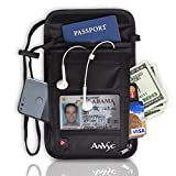Neck Wallet - Neck Pouch - Travel Wallet - Passport Pouch with RFID blocking - Neck Bag for Men Women