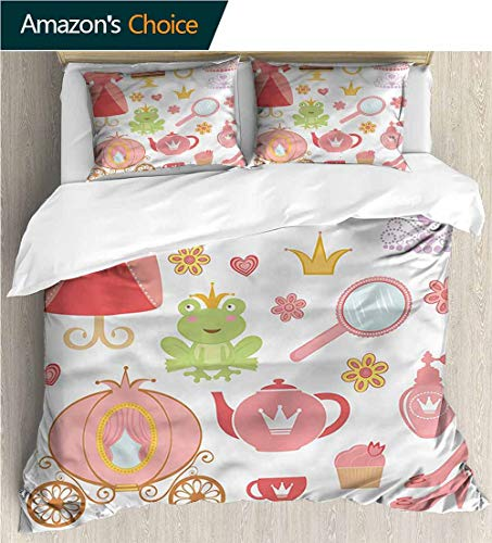 (Full Queen Duvet Cover Sets,Box Stitched,Soft,Breathable,Hypoallergenic,Fade Resistant 100% Cotton Reversible 3 Pieces Kids Girls Boys Bedding Sets-Kids Princess Tiara Tea Party (87