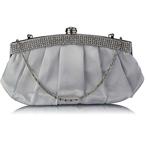 L And S Handbags Diamante Evening Clutch Bag With Chain - Cartera de mano para mujer plata