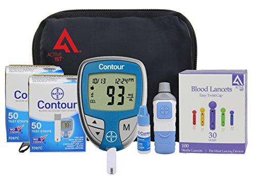 active1st Diabetes Testing Kit (Bayer Contour Meter, 100 Contour Test Strips, 100 Active1st 30g Lancets, Lancing Device & (Blood Testing)