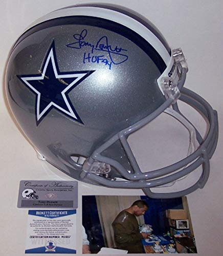Tony Dorsett - Autographed Full Size Riddell Football Helmet - Dallas Cowboys - BAS Beckett -