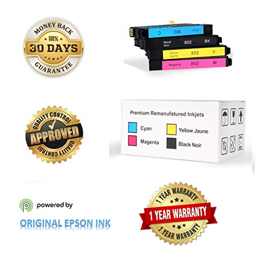 Epson 802 Ink Cartridges (Re-Manufactured/Repackaged), Works for Epson WF-4720 WF-4730 WF-4734 WF-4740 Printers, Standard Plus Capability (4 Pack Standard Plus, BK, C, M, Y) (Best Price For Epson Ink Cartridges)