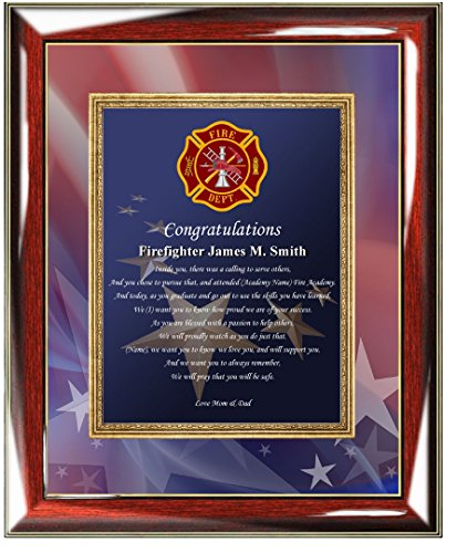 Personalized Fire Fighter Academy Graduation Gift of Poetry Custom Poetry Wall Plaque Fireman Graduation Present Firefighter Gift ()