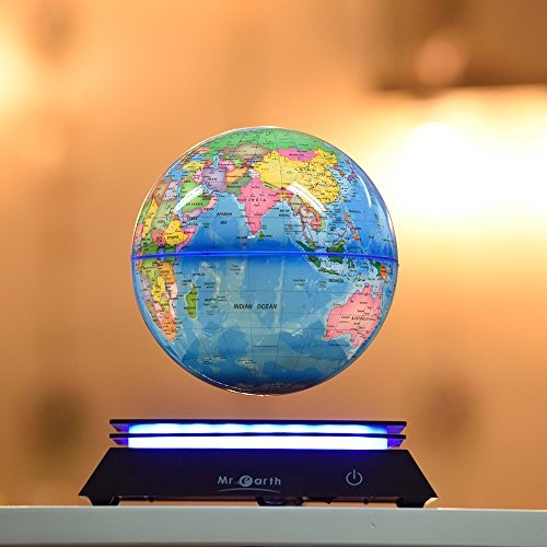Mr.Earth magnetic levitation globe Creative spin globes 6 inches light floating globes sitting room the study office desktop furnishing articles birthday Christmas gifts Upgrade section (light blue)