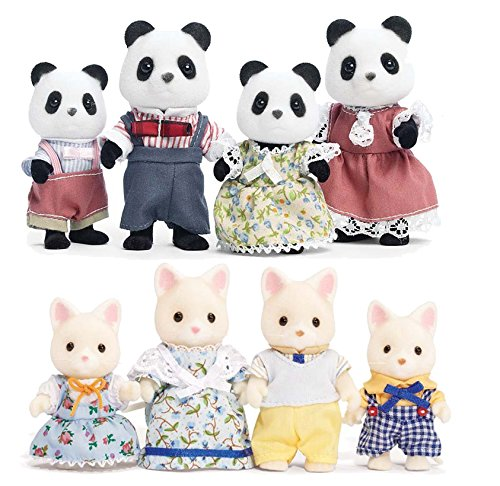 Calico Critters Silk Cat Family and Hopscotch Rabbit Family Set – Bundled by Maven Gifts