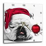 3dRose dpp_62826_1 Sleeping Bulldog in a Santa Hat Christmas Card Photo Courtesy of Esther Matheus Wall Clock, 10 by 10-Inch Review
