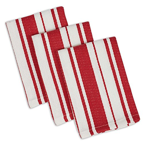 """DII Cotton Gourmet Stripe Dish Cloths, 12 x 12"""" Set of 3, Herringbone Absorbent Kitchen Dishcloths for Cleaning, Drying, Cooking, Baking-Tomato Red"""