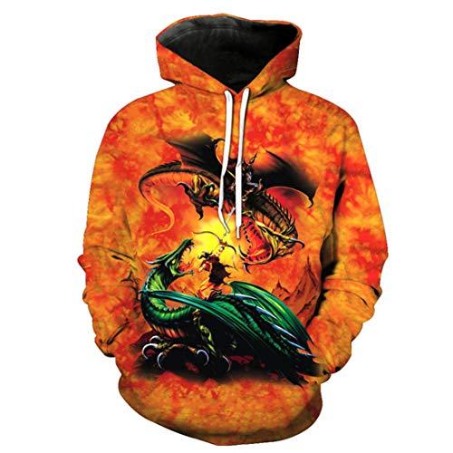 Fire Dragon Knight Battle Cool Pullover Hooded Sweatshirt]()
