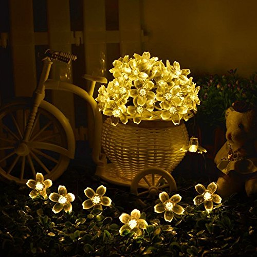 HIOTECH Solar Lights 50 LED Waterproof Cherry Blossom String Light for Outdoor Decoration, Christmas, Party, Wedding, Ceremony, Celebration Decoration (Warm White)