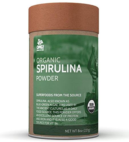 OMG! Superfoods Organic Spirulina Powder - 100% Pure, USDA Certified Organic Spirulina Powder – 8oz