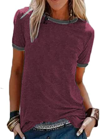 Qearal 2021 Women's Summer Basic Tee Short Sleeve Tops Casual Loose T-Shirts with Pocket