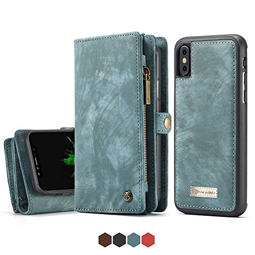 Apple Phone X Leather Wallet Magnetic Phone Case Detachable Protective Case with Card Holder Folio Flip Cover, - Fire Phone Wallet Case Leather