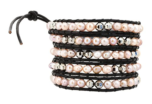 Freshwater Cultured Beaded Leather Bracelet
