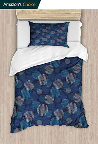 Abstract 3D Bedding Quilt Set, Modern Digital Featured Polka Dots Extravagant Dotted Circles, Reversible Coverlet, Bedspread, Gifts for Girls Women,47 W x 59 L Inches, Navy Blue Pale Blue and White