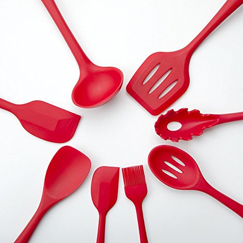 70%OFF Silicone Kitchen Utensil Set Red (10 Pieces)Heat Resistant ...