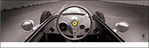 Pyramid America Ferrari F1 Vintage Quarter Mile Black and White Yellow Ferrari Logo Car Enthusiasts Cool Wall Decor Art Print Poster 36x12