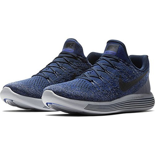 NIKE Mens Lunarepic Low Flyknit 2 Running Shoes (College Navy/Cool Grey, 10)