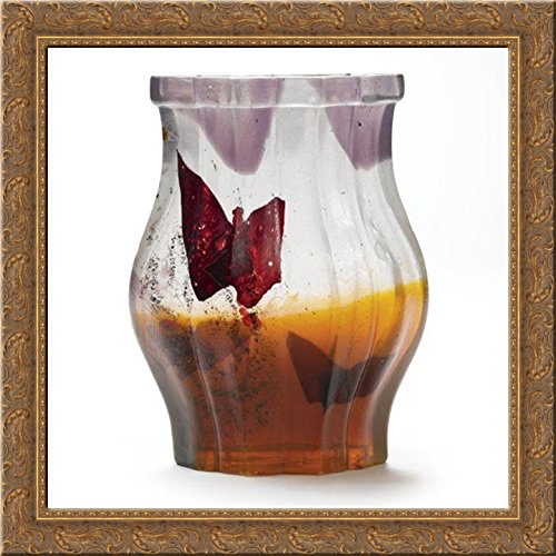 Papillon Verre Parlant Vase 20x20 Gold Ornate Wood Framed Canvas Art by Emile Galle