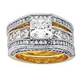 14K Yellow Gold-plated Square Cut Cubic Zirconia Milgrain Jacket Bridal Ring Set Size 6