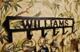 Personalized Key Hook (6 Hooks) - Handmade in America - Power Coated Steel with 20% Gloss Black Finish - Wall Mountable Key Rack - Organize Your Home & Car Keys in Style