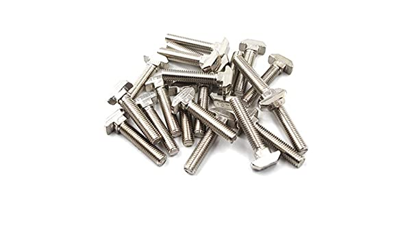 paquete de 20 4545 M8X35 Tornillo en T Juego de tornillos Tornillo Herramienta de fijaci/ón para acero de carbono extruido de aluminio ranurado en T