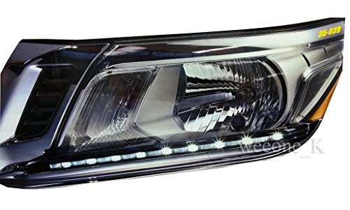 LED L.E.D Daylight Chrome Headlight Lower Eyebrows Eyelid Cover Trim Nissan Navara Frontier NP300 Pickup 2014 2015 2016