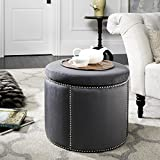 Cheap Safavieh Mercer Collection Kyle Grey Nailhead Round Storage Ottoman