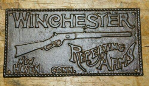 JumpingLight Huge Cast Iron Winchester Repeating Arms Plaque Sign Rustic Ranch Wall Decor Cast Iron Decor for Vintage Industrial Home Accessory Decorative Gift ()