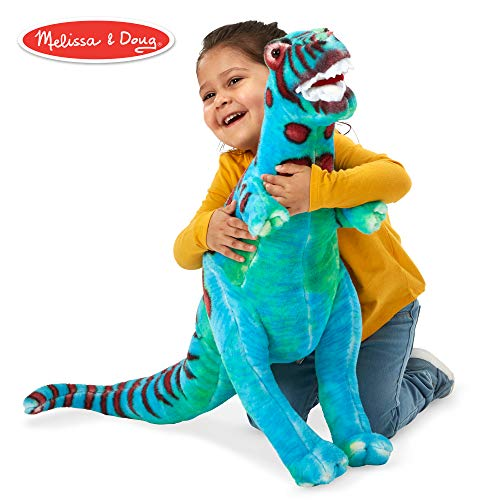Melissa & Doug T-Rex Giant Stuffed Animal, Wildlife, Bold Colors, Soft Polyester Fabric, Stands on Two Feet, 26