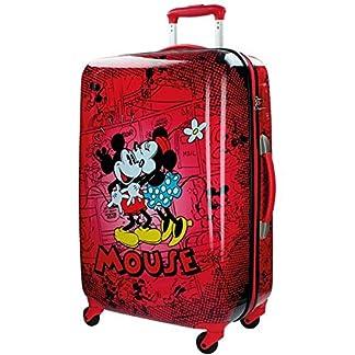 Maleta mediana Mickey y Minnie Abs 67 cm 4 ruedas Retro Comic Rojo