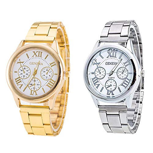 Weicam Women Roman Numerals Dial with 3 Decorated Small Sub-dials Men Business Stainless Steel Quartz Analog Wrist Watches 2 Pack (White)