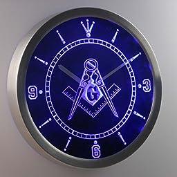 Masonic Mason Freemason Emblem 3D Neon Sign LED Wall Clock NC0087-B