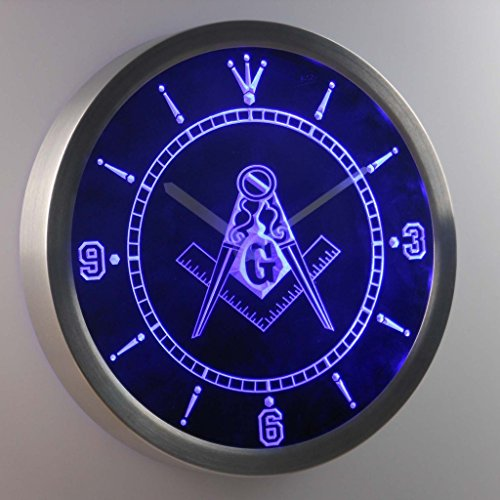 Masonic Mason Freemason Emblem 3D Neon Sign LED Wall Clock NC0087-B