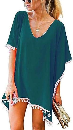 Femmes Cache Maillots Nager Couvrir De Bikini Robe De Plage Grande Taille Col V Blouse Vert Fonce Taille Unique Amazon Fr Vetements Et Accessoires