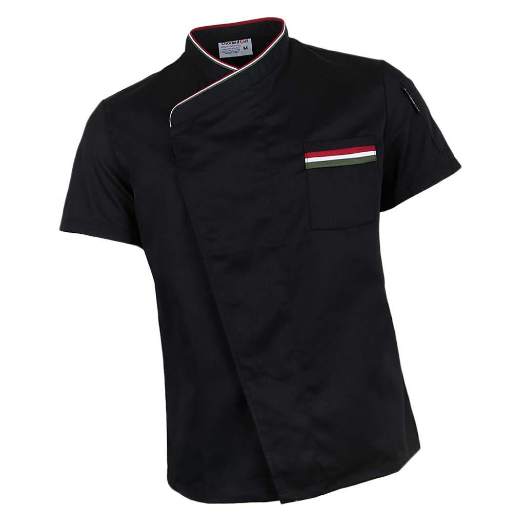 Fityle Snap Fastener Chef Jacket Coat Apparel Hotel Kitchen Service Bakery Uniform Short Sleeve Workwear Men Women - Black, M