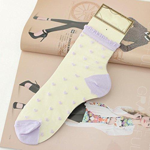 Calcetines Cortos Para Mujer, Egmy Los Calcetines Ultrafinos De Mujer Más Nuevos Calcetines Cortos Elásticos De Cristal Transparente Del Amor