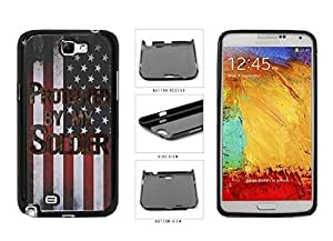 Camouflage Protected by Soldier on USA Flag Plastic Phone Case Back Cover Samsung Galaxy Note II 2 N7100