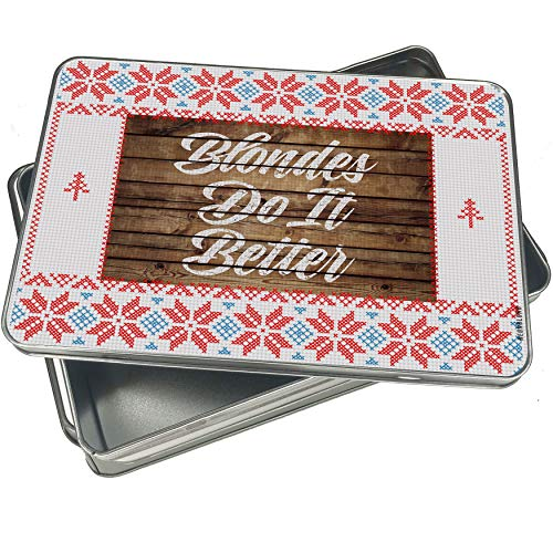 (NEONBLOND Cookie Tin Box Painted Wood Blondes Do It Better Vintage Christmas)