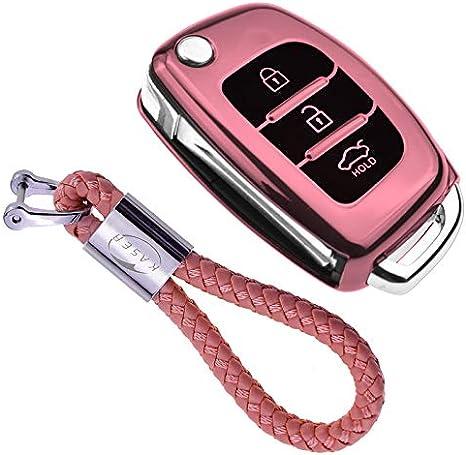 Custodia in TPU Morbida Cromata per Telecomando Hyundai Kona i10 i30 ioniq Tucson Nexo Protezione con Portachiavi Argento Cover Guscio Silicone per Chiave Hyundai