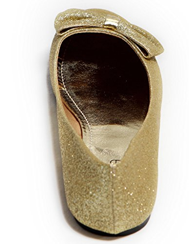 Lasonia M1230 Ballerine Slip-on Da Donna Impreziosite Con Papillon Glitter / Zebrette Oro Glitter
