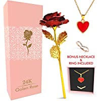 TRIPLEROSE 24K Rose Artificial Flower with Bonus Necklace & Ring