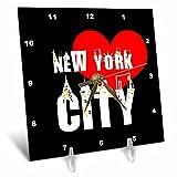 3dRose Alexis Design - American Cities - Decorative text New York City, red heart, shining windows on black - 6x6 Desk Clock (dc_286451_1)