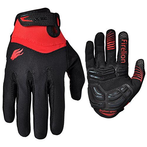 Firelion Long Finger Outdoor MTB Downhill Off Road Bicycle Gloves (Black/Red, X-Large)
