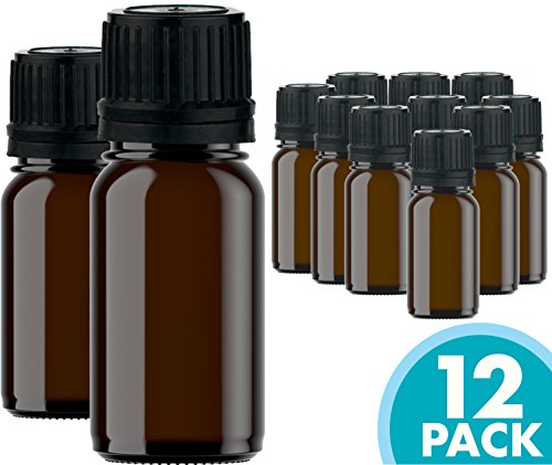 Glass Bottles for Essential Oils - 12 Pack 10 ml Refillable Empty Amber Bottle with Orifice Reducer Dropper and Cap