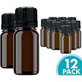 Glass Bottles for Essential Oils - 12 Pack 10 ml Refillable Empty Amber Bottle with Orifice Reducer Dropper and Cap - DIY Supplies Tool & Accessories Perfume Aromatherapy - Carrier Oil Kit