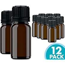 Glass Bottles for Essential Oils - 12 Pack 10 ml Refillable Empty Amber Bottle with Orifice Reducer Dropper and Cap – DIY Supplies Tool & Accessories Perfume Aromatherapy – Carrier Oil Kit