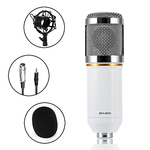 Condenser Microphone, Abask BM-800 Professional Sound Studio Recording Broadcasting Microphone Set For Sound Studio Recording Studios Broadcasting Stations Stage Performances And Computers(White) (Microphone Condensed compare prices)