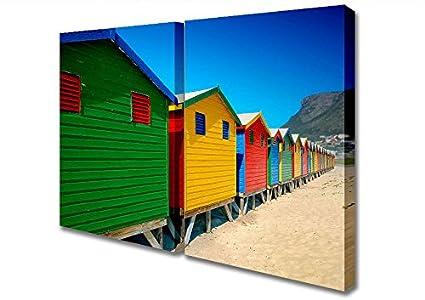 Panel de dos colores de casetas de playa lienzo Art Prints, Extra Large 32 x