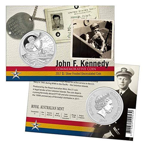 2017 SB Kennedy 2017 1 oz Silver John F. Kennedy JFK Solomon Islands $1 Coin .999 Fine (In Assay) - 100th Anniv. JFK PT109 $1 Brilliant Uncirculated BU